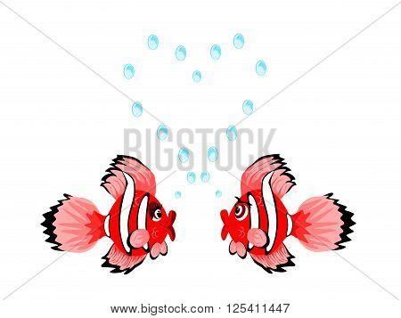 Couple of fish looking lovingly at each other blowing bubbles shaped as a heart