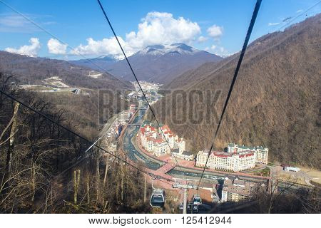 ROSA KHUTOR, RUSSIA - MARCH 31, 2016: Top view of Rosa Khutor from cableway Olympia