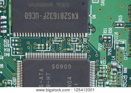 Closeup on electronic board, macro detail