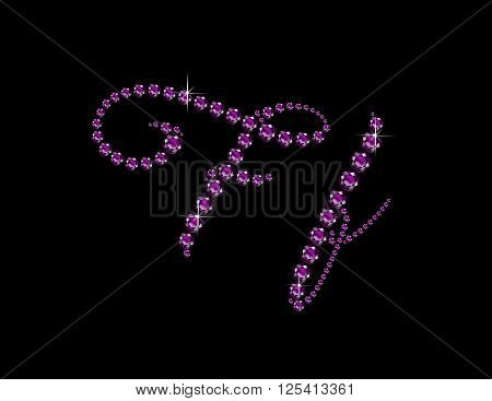 Ff in stunning Amethyst Script precious round jewels isolated on black.