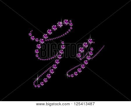 Gg in stunning Amethyst Script precious round jewels isolated on black.