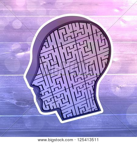 Maze brain in head against bleached wooden planks background