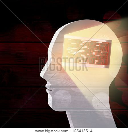 Maze brain in head against background of multiple color
