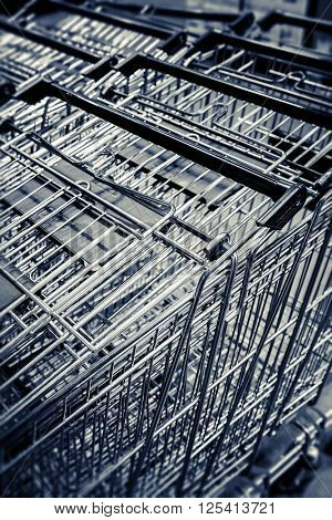 Supermarket basket trolleys
