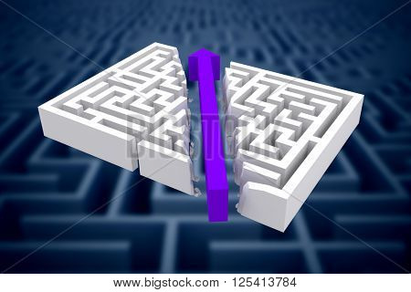 Arrow through maze against difficult maze puzzle