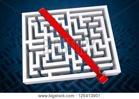 Line through maze against difficult maze puzzle