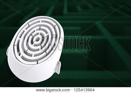 Maze brain in head against difficult maze puzzle