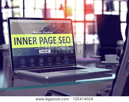 Modern Workplace with Laptop showing Landing Page with Inner Page SEO - Search Engine Optimization - Concept. Toned Image with Selective Focus. 3D Render.