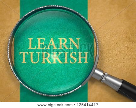 Learn Turkish through Loupe on Old Paper with Blue Vertical Line Background. 3D Render.