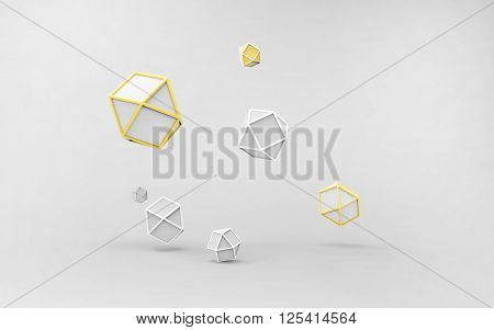 Geometrical Lowpoly Monochrome abstract and technology concept