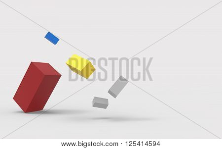 Abstract Geometrical Lowpoly Fragmentation square and Graphic Resources. 3D