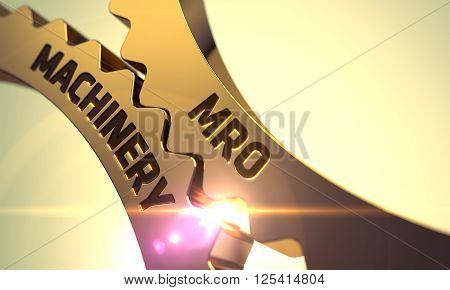MRO Machinery on the Mechanism of Golden Metallic Cogwheels with Glow Effect. MRO Machinery - Illustration with Glow Effect and Lens Flare. MRO Machinery - Technical Design. 3D.