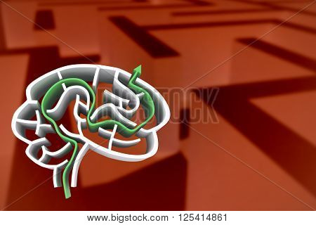 Brain maze with arrow against difficult maze puzzle