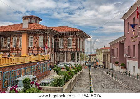 BURSA, TURKEY - APRIL 24, 2015: City hall, vintage house on city square of old town