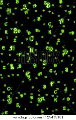 Alphabet letters: lowercase on black background, illustration