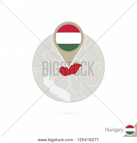 Hungary Map And Flag In Circle. Map Of Hungary, Hungary Flag Pin. Map Of Hungary In The Style Of The
