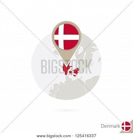Denmark map and flag in circle. Map of Denmark Denmark flag pin. Map of Denmark in the style of the globe. Vector Illustration.