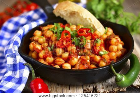 Chickpea Stewed In Tomato Sauce.