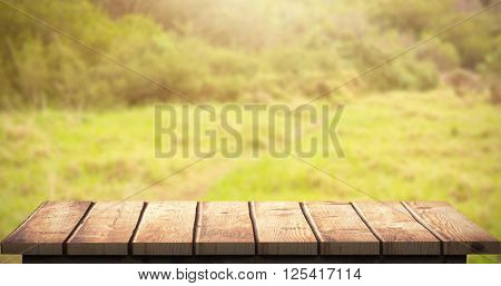 Wooden floor against image of a greenness hiking path