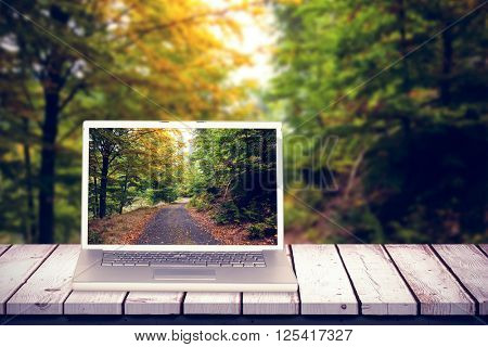 Laptop against scenic shot of narrow road along forest