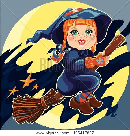 Vector illustration of sweet red-haired girl is flying on a broom on full moon background
