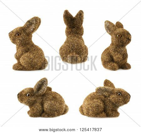 Toy bunny statuette isolated over the white background, set of five foreshortenings