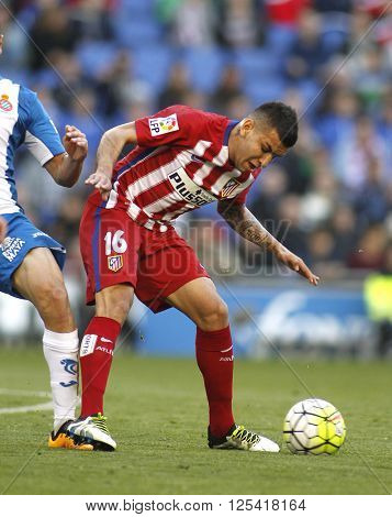 BARCELONA - APRIL, 9: Angel Correa of Atletico Madrid during a Spanish League match against RCD Espanyol at the Power8 stadium on April 9, 2016 in Barcelona, Spain