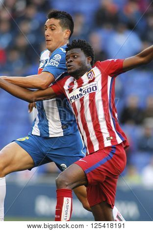 BARCELONA - APRIL, 9: Thomas Partey of Atletico Madrid during a Spanish League match against RCD Espanyol at the Power8 stadium on April 9, 2016 in Barcelona, Spain