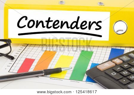 Word contenders underlined against business desk with documents