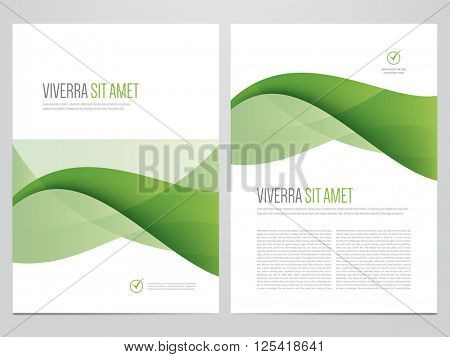 Brochure, annual report, magazine cover, flyer, poster vector template. Modern green corporate design.