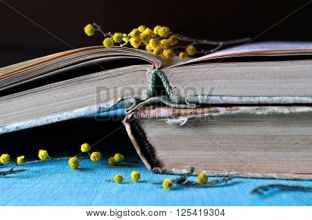 Retro spring still life - stack of worn books with yellow mimosa flowers. Selective focus at the book spines.