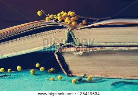 Spring retro still life - stack of old worn book with small mimosa branches. Dark vintage filter processing. Selective focus at the book spine.