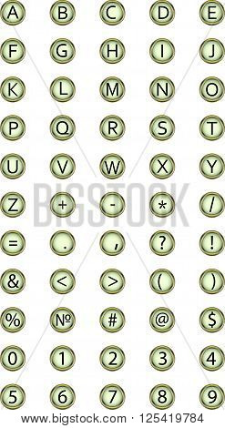 button typewriter for your design alphabet, key