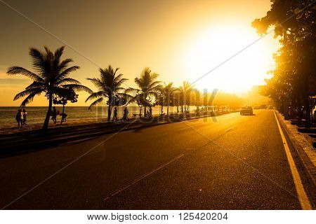 Vieira Souto Avenue in Ipanema Beach by Sunset