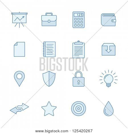 Universal line icons set in light blue colors. Simple outlined icons. Linear style