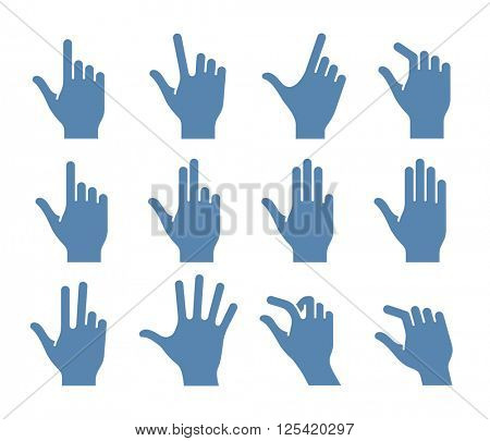 Gesture icons for touch devices. Vector icon set for a mobile app user interface or manual
