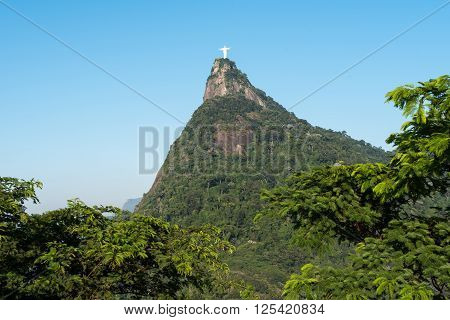 Rio de Janeiro, Brazil - April 10, 2016: Corcovado mountain with Christ the Redeemer statue, the famous landmark of the city.