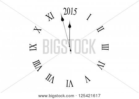 Clock counting down to midnight on white background