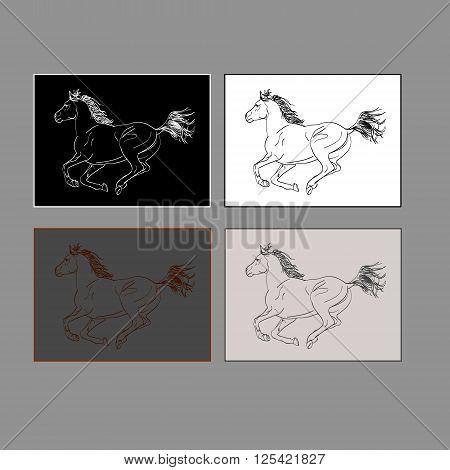 The character set of the race - horse. The gallop of the horse in the emblem. Four versions of the shortcut icon on gray background vector