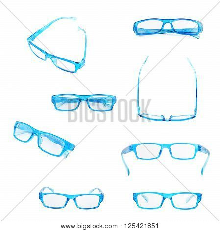 Blue plastic pair of glasses isolated over the white background, set of eight different foreshortenings