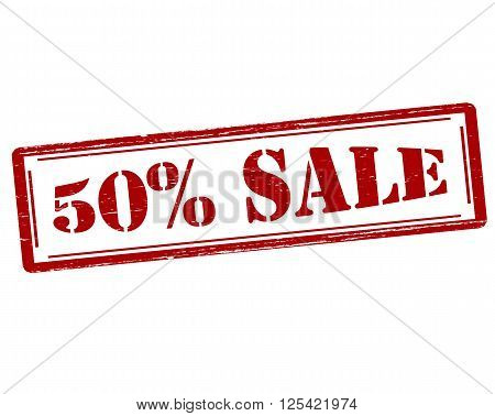 Rubber stamp with text fifty percent sale inside vector illustration