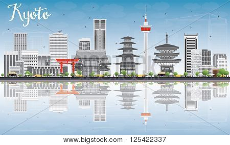 Kyoto Skyline with Gray Landmarks, Blue Sky and Reflections. Business Travel or Tourism Concept with Modern and Historic Buildings. Image for Presentation Banner Placard and Web Site.