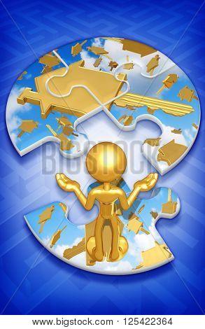 House Key Puzzle 3D Illustration