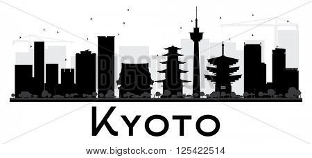 Kyoto City skyline black and white silhouette. Simple flat concept for tourism presentation, banner, placard or web site. Business travel concept. Cityscape with landmarks