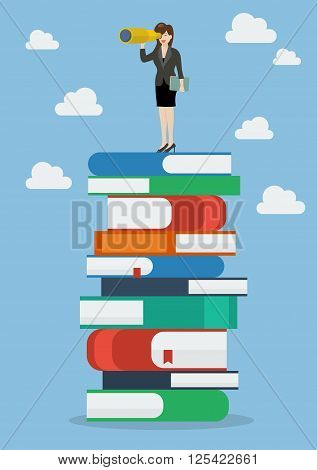 Business woman looking for future on a lot of books. Vector Illustration