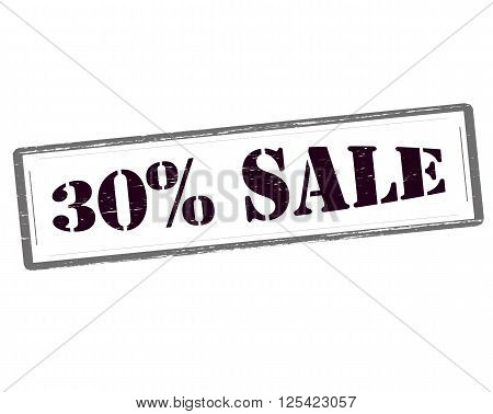 Rubber stamp with text thirty percent sale inside vector illustration