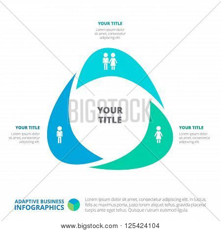 Triangle business infographic diagram. Editable template with male and female icons, titles and sample text