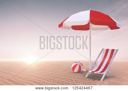 Image of sun lounger and sunshade against desert scene