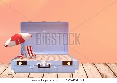 Image of a suitcase against salmon background