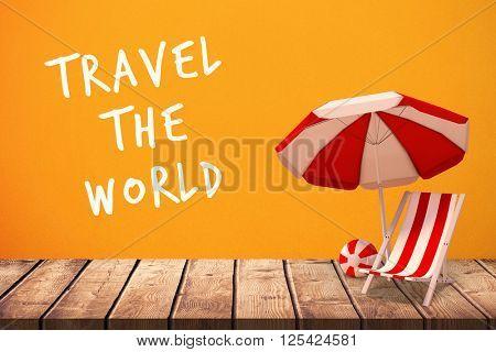 Travel the world against orange background